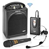 Pyle PWMA200 Compact & Wireless Microphone PA Speaker System, Handheld Mic (Color: red)