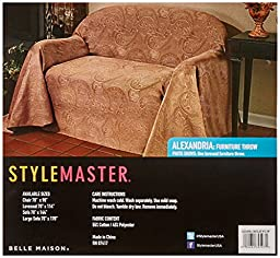 Stylemaster Alexandria Matelasse Large Sofa Furniture Throw, Chocolate