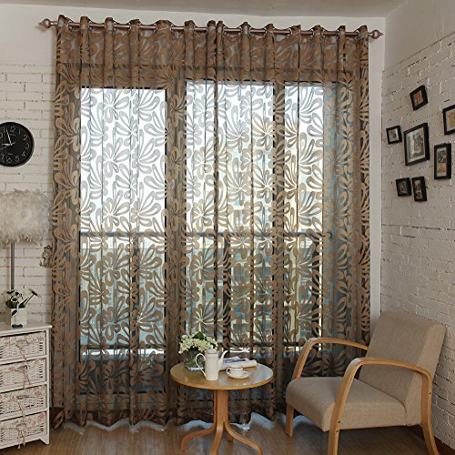 Top Finel Window Treatments Sheer Curtains Panels for Living Room 76 inch Width X 84 inch Length,Brown,Single Panel,Grommets (Sliding Door Semi Sheer Curtains compare prices)