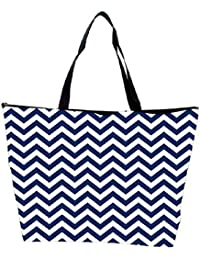 Snoogg White And Blue Strips Designer Waterproof Bag Made Of High Strength Nylon