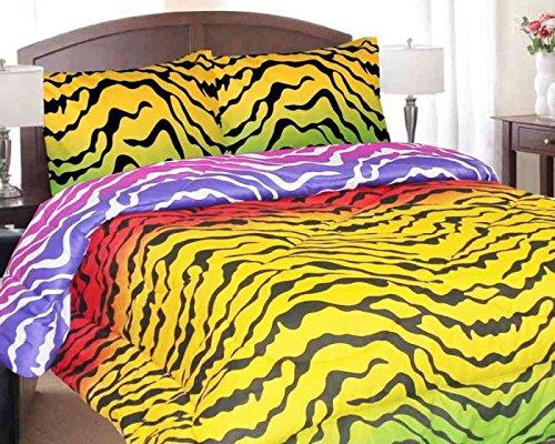 Regal Comfort Multi Color Rainbow Zebra Print Comforter! Full Size Bedding front-1058600