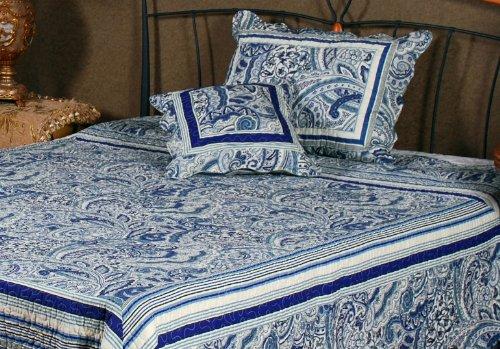 Tache 3 Piece Enchanting Festive Floral Blue Bell Garden Bedspread,Quilt ,Covelet Set -Single