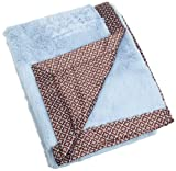 Carters Everyday Easy Faux Fur with Satin Blanket, Blue/Brown Geometric