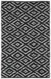 Black & White Diamonds (5\'x8\') Leather Chindi Rug