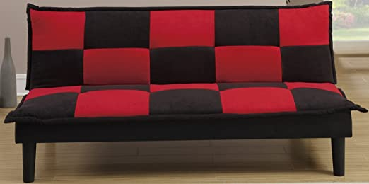 Modern Black Red Microfiber Adjustable Futon by Poundex