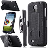 Galaxy S4 Case, S4 Case - ULAK Samsung Galaxy S4 Case with Kickstand and Belt Clip Holster Hybrid Shockproof Hard Protective Stand Case Cover for Samsung Galaxy S4 IV i9500 (S4-Black)