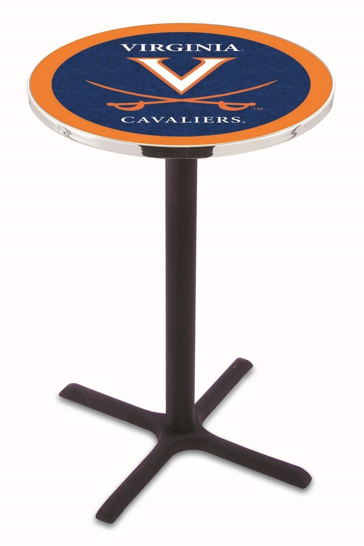 Virginia Cavaliers (L211) 42 Tall Logo Pub Table by Holland Bar Stool Company (with Black Wrinkle Base and 28 Table Top Diameter) north american fashion bar stool barber stool retail and wholesale yellow red orange white black free shipping