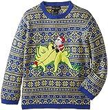 Alex Stevens Big Boys' Ugly Christmas Sweater Stegosaurus Santa, Blue Combo, Small