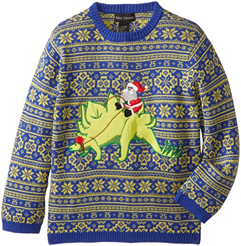Alex Stevens Big Boys' Ugly Christmas Sweater Stegosaurus Santa, Blue Combo, Medium