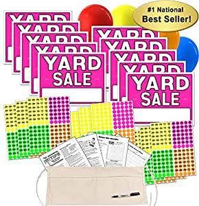 amazon com yard sale sign kit with pricing stickers and change apron a502y patio lawn garden