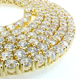 """Iced Out Hip Hop 4mm 30"""" 14k Gold Plated Cz Pharaoh Chain"""