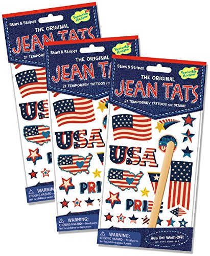 Peaceable Kingdom Jean Tats Stars and Stripes Temporary Tattoos for Fabric - 3 Pack