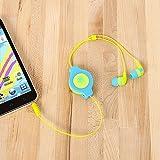 ReTrak Retractable Stereo Earbuds Neon Blue/Yellow (ETAUDNBUYE)