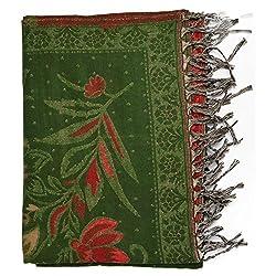 Btex Women's Shawl (Green,80 Cms)