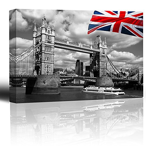 Wall26 - Canvas Prints Wall Art - London Tower Bridge with Colored British Flag | Modern Wall Decor/ Home Decoration Stretched Gallery Canvas Wrap Giclee Print. Ready to Hang - 24