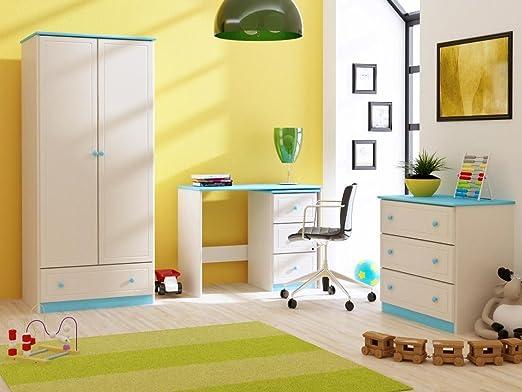 Vollholz-Kleiderschrank, Farbe: Weiß / Blau 182x80x60 cm