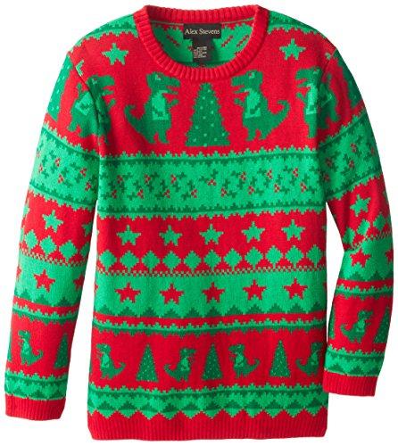 Alex Stevens Big Boys' Ugly Christmas Sweater Dinosaur Fairisle, Red Combo, Large