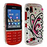 CONTINENTAL27 For Nokia Asha 300 Unique Design Pink Black Butterfly On Silver Diamond Plastic Bling Glitter Gem Hard Shell Protective Back Skin Case Cover