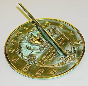 Rome 2329 Thoreau Sundial, Solid Brass with Verdigris Highlights, 8.5-Inch Diameter