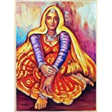 "Dolls Of India ""Rajasthani Lady"" Reprint On Paper - Unframed (71.12 X 55.88 Centimeters)"