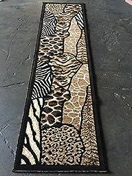 Animal Skin Print Runner Rug Leopard/Tiger Black Skinz Design#70 (2ftx7ft)