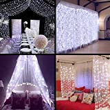 MZD8391 Fairy Curtain Lights, 9.8ft×9.8ft 304 led 8 Modes 24V Low Voltage Window Icicle Fairy Lights for Valentine's Day Decoration/Gifts, Home, Garden, Wedding, Party, Photo Booth (White)
