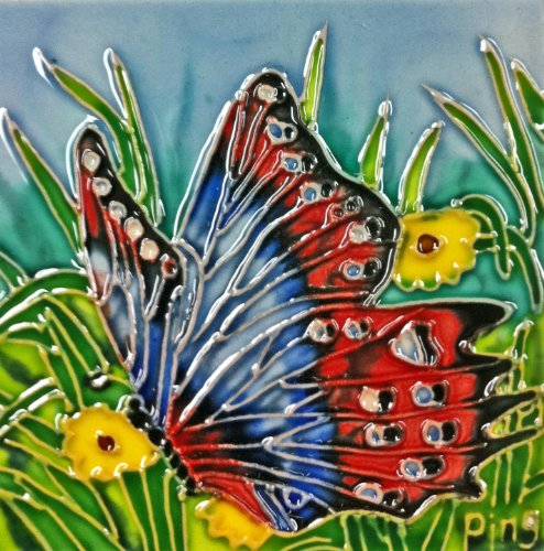 Continental Art Center SD-045 4 by 4-Inch Butterfly Set Ceramic Art Tile
