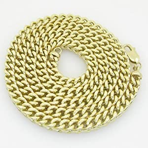 Mens 10K yellow gold franco cuban miami figaro bullet rope fancy chain gc39 Length - 30