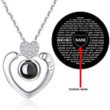 I Love You Necklace 100 Languages Custom Your Lovers's Name in The Sterling Silver Projection Necklace (Color: Diamand heart in silver)