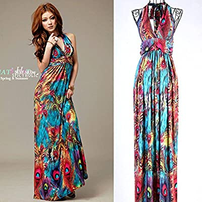 Leward Women Flaming Empire Waist Summer Boho Halter V-neck Long Beach Dresses