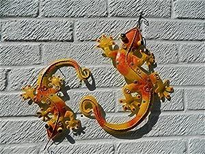 Pair of Metal Wall Art Gecko Lizard - Orange & Yellow