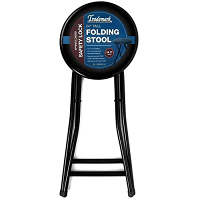 Trademark Home Collection Cushioned Folding Camping Stool in Black