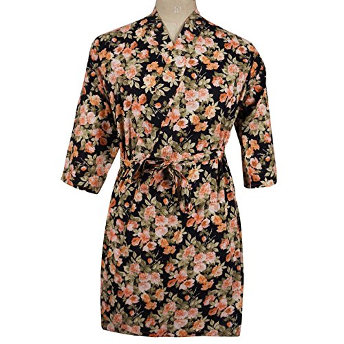 Cotton Black Floral Crossover Robe Bridesmaid Gift Spa Wrap Getting Ready Robes front-1041981