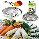 "Vegetable Steamer Basket Complete Bundle by Kitchen Deluxe - 100% Premium Stainless Steel - Bonus 2 in 1 Ultra Sharp Julienne Veggie Peeler Slicer and Recipe eBook - Pressure Cooker Friendly - 5.3"" to 9.3"""