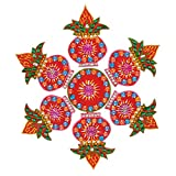 Creations 7 Piece Wooden Rangoli with Kundan Work RAN0004 (30 cm * 30 cm * 0.5 cm)