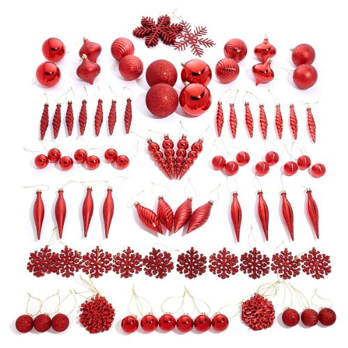Winter Lane 101PC Assorted Decorative Christmas Shatter-Resistant Ornament Set (Red)