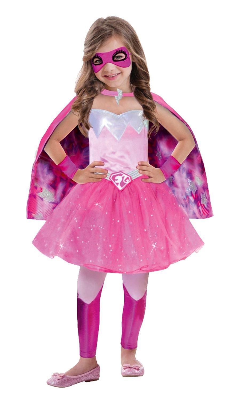 Amscan 999340 – Kinderkostüm Barbie Super Power Prinzessin, circa 5 – 7 Jahre, Größe 116, pink günstig online kaufen