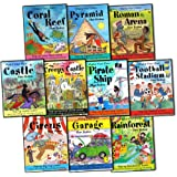 Clare Beaton Make Your Own Collection 10 Activity Books Set RRP: �49.90 (Castle, Circus, Coral Reef, Creepy Castle, Football Stadium, Garage, Pirate Ship, Pyramid , Rainforest, Roman Arena)by Clare Beaton