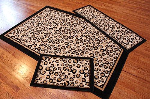Abrahami Sultan 3-piece Area Rug Set Leopard -Includes Area Rug -Runner - Scatter Rug