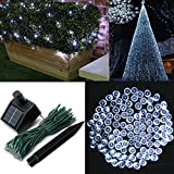 Audew Solar Powered Outdoor LED String Light, 55ft 17m 100 LED Solar Fairy String Lights for Patio, Garden, Christmas, Party, Wedding White