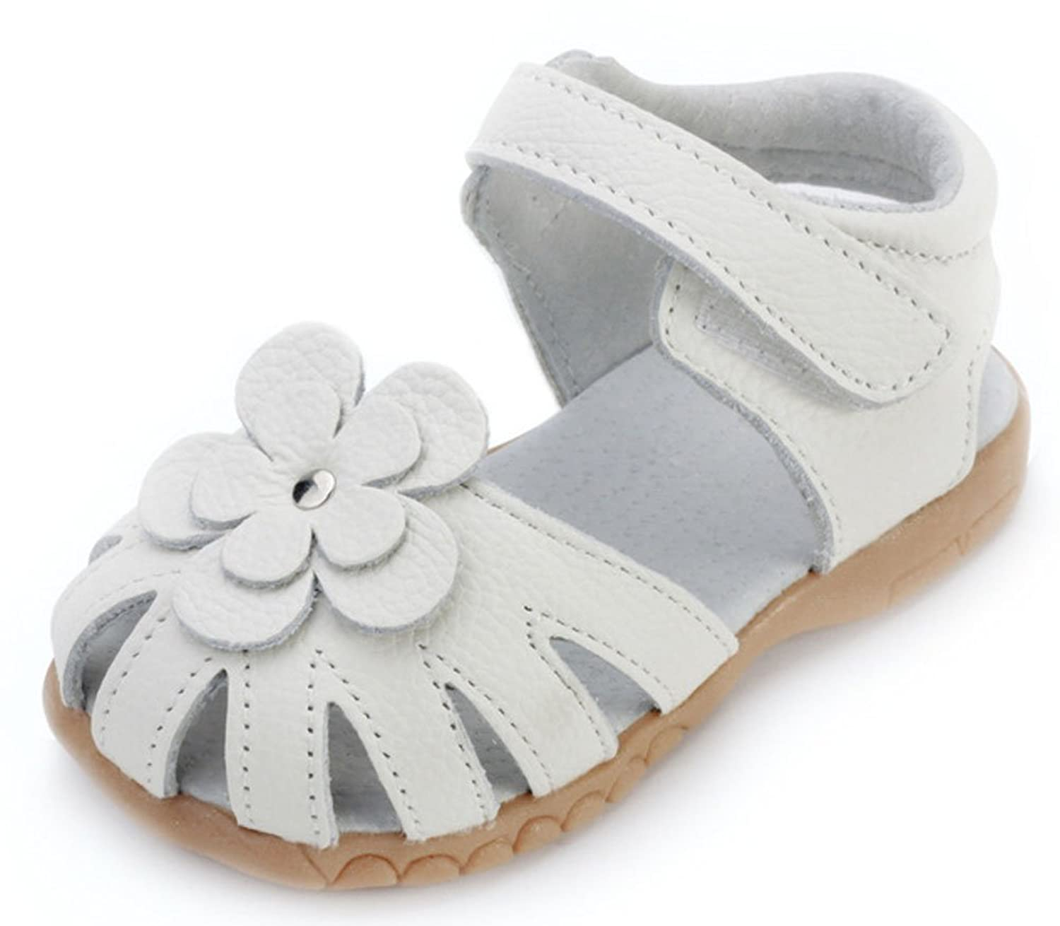 Femizee Girls Genuine Leather Soft Closed Toe Princess Flat Shoes Summer Sandals(Toddler/Little Kid)