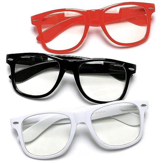 Clear Lens 3 Pack Nerdy Buddy Holly Wayfarer Glasses(Red Black