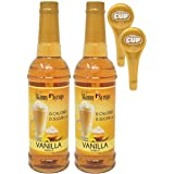 Jordans Skinny Syrups Sugar Free Vanilla 750 ml Bottles (Pack of 2) with 2 By The Cup Syrup Pumps