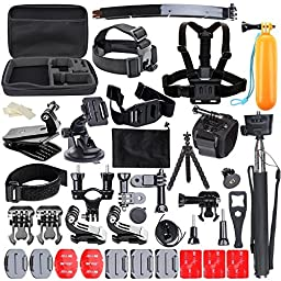 CCbetter 50-in-1 Accessories Kit for Gopro Hero 1 2 3 3+ 4 SJcam Xiaomi YI Action Cameras with Carrying Case, Black