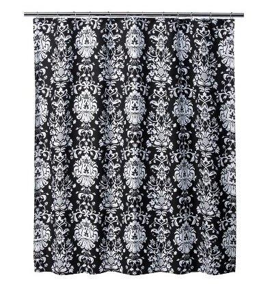 Xhilaration 174 damask shower curtain black white 72x72