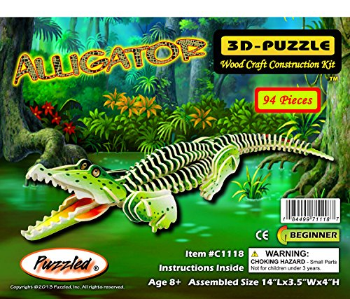 Puzzled Alligator Pre-Colored Wooden 3D Puzzle Construction Kit