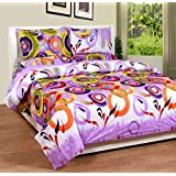 Soni Traders Purple Rangoli Design Pure Cotton Double Bedsheet With Pillow Cover- Bedsheet- 90 Inches X 90 Inches...