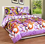 Soni Traders Purple Rangoli Design Pure Cotton Double Bedsheet With Pillow Cover- Bedsheet- 90 Inches X 90 Inches; Pillow Cover- 16 Inches X 27 Inches