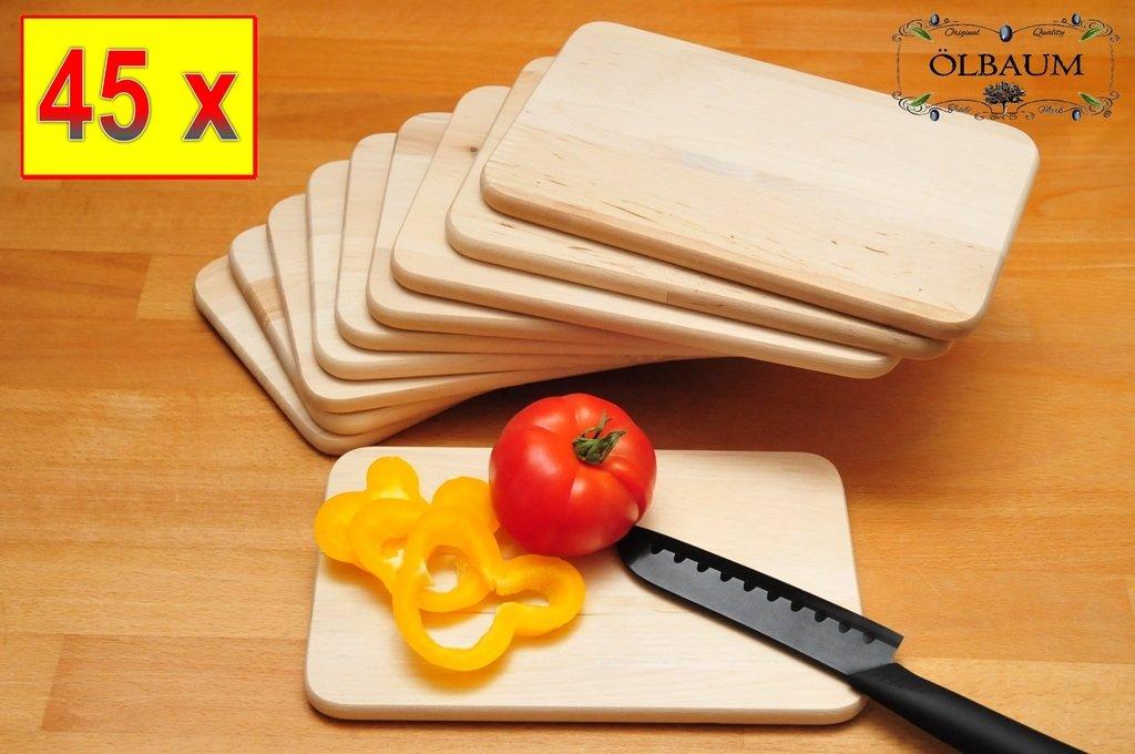 45 Grill PREMIUM-Grill-Schneidebrettchen Holz NATUR, Universal-Küchenbrett Set, groß mit abgerundeten Kanten, je ca. 22 cm x 14 cm als Bruschetta-Servierbrett, Brotzeitbrett mit Griff, NEU Bayerisches Brotzeitbrettl, Bruschetta-Pita-Döner-Naan-Roti-Ciabatta-Langos-Chubz-Servierbretter,Massive Grill-Schneidebretter, Anrichtebretter, Brotzeitbretter, Steakteller schinkenbrett rustikal, Schinkenteller von BTV jetzt kaufen