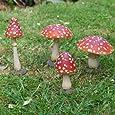 Set Of Four Coloured Resin Mushroom or Toadstool Garden Ornaments